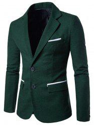 Notch Lapel Casual Houndstooth Blazer - GREEN L