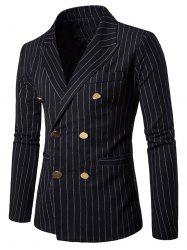 Peaked Lapel Vertical Stripe Casual Blazer