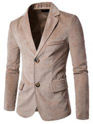 Notch Lapel Flap Pockets Corduroy Casual Blazer - CAMEL