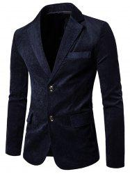 Notch Lapel Flap Pockets Corduroy Casual Blazer - CADETBLUE L