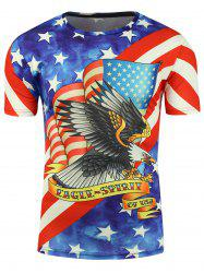 Short Sleeve 3D Eagle and American Flag Print T-shirt