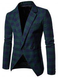 Notch Lapel One-button Plaid Casual Blazer