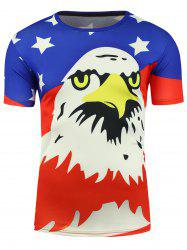 Cartoon Eagle and American Flag Print T-shirt