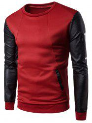 Faux Leather Panel Zip Shoulder Sweatshirt