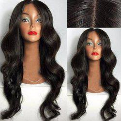 Long Center Parting Loose Wave Synthetic Wig - BLACK