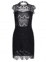 Sleeveless Half Sheer Nightclub Lace Sheath Dress - BLACK XL