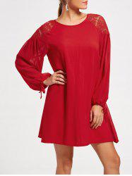 Long Raglan Puff Sleeve Casual Mini Dress
