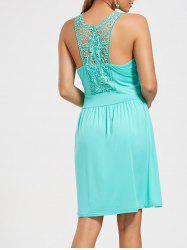 Lace Racerback Ruched Sleeveless Casual Dress