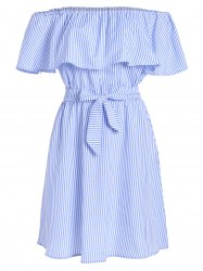 Off The Shoulder Tie Waist Stripe Dress - LIGHT BLUE