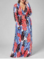 Long Sleeve Palm Leaf Print Plus Size Dress