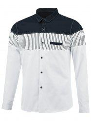 Color Block Stripe Insert Faux Pocket Shirt