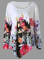 Plus Size 3D Floral Print Asymmetric Top