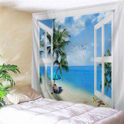 Window Beach Trees Print Tapestry Wall Hanging Art Décoration - Bleu