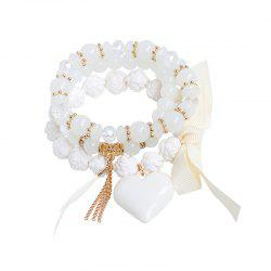 Heart Ribbon Feather Charm Beaded Bracelet Set - WHITE