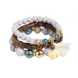 Tassel Jade Elephant Beaded Wooden Bracelet Set - WHITE