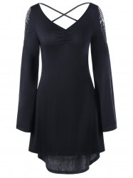 Openwork Long Sleeve High Low Hem Dress - BLACK