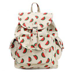 Canvas Fruit Printed Backpack - RED