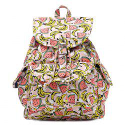 Canvas Fruit Printed Backpack - PINK