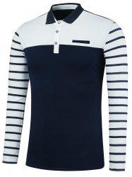 Faux Pocket Stripe Insert Polo Shirt