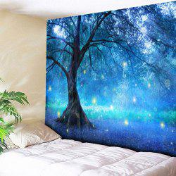 Life Tree Forest Pattern Wall Hanging Tapestry - BLUE