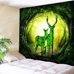 Tree Hole Landscape Tapestry Deer Wall Hanging
