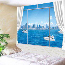 Window Sea City Print Tapestry Wall Hanging Art Decoration