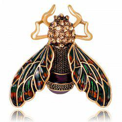 Retro Enamel Cicada Shape Rhinestone Brooch - GOLDEN