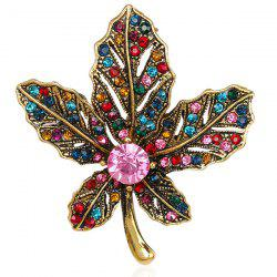 Multicolor Rhinestone Maple Leaf Retro Brooch - GOLDEN