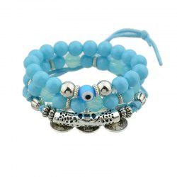 Coin Eye Charm Beaded Bracelet Set - BLUE