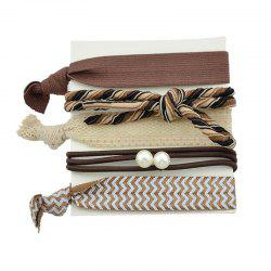 Artificial Pearl Bows Elastic Hair Band Set - BROWN