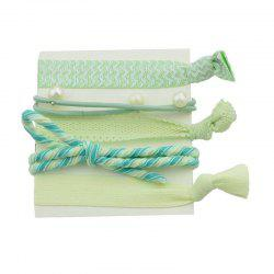 Artificial Pearl Bows Elastic Hair Band Set - GREEN