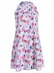Floral Leaf Print Sleeveless Shift Dress
