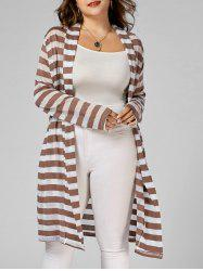 Stripe Open Front Longline Plus Size Coat - Rayure