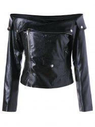 Zipper Up Off The Shoulder Jacket - Noir