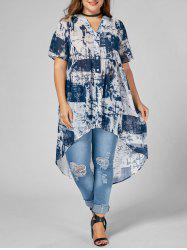 Printed Chiffon High Low Plus Size Top - BLUE