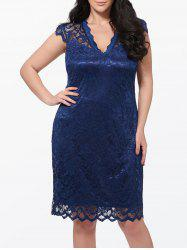 Cap Sleeve Plus Size Lace Dress