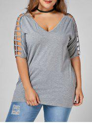 V Neck Cut Out Plus Size Tunic Tee