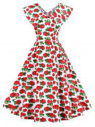 Flat Collar Strawberry Print Pin Up Dress