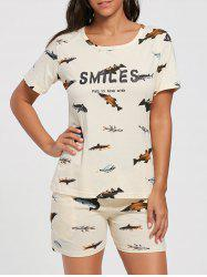 Fishes Print Cotton Sleepwear Suit
