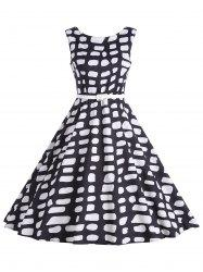 Polka Dot Vintage A Line Sleeveless Dress