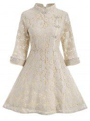 Lace A Line Mini Cheongsam Dress - Palomino