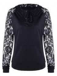 Lace Panel Lace Up Hoodie -