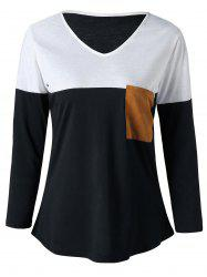 V Neck Elbow Patch Curved Top - WHITE AND BLACK L