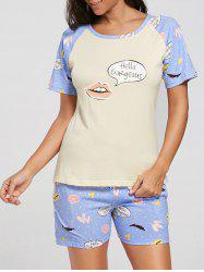 Printed T-shirt Cotton Pajamas Suit