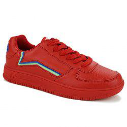 Breathable Colour Block Faux Leather Casual Shoes - RED