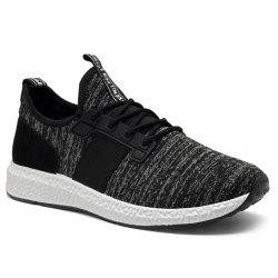 Breathable Elastic Band Tie Up Casual Shoes - BLACK