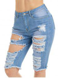 Raw Edge Ripped Jean Shotrs - Bleu S