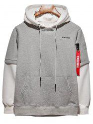 Color Block Panel Hooded Size Zipper Pocket Hoodie