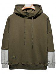 Plus Size Hooded Color Block Panel Raglan Sleeve Hoodie - ARMY GREEN 2XL