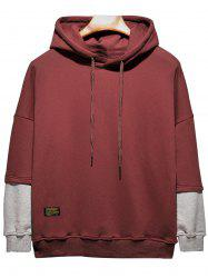 Plus Size Hooded Color Block Panel Raglan Sleeve Hoodie -